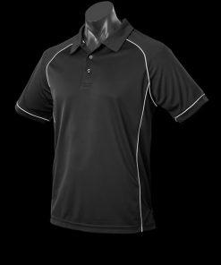Men's Endeavour Polo - M, Black/Silver