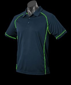 Men's Endeavour Polo - S, Navy/Fluro Green