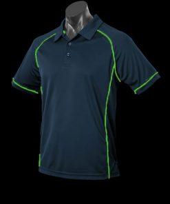 Men's Endeavour Polo - M, Navy/Fluro Green
