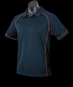 Men's Endeavour Polo - L, Navy/Fluro Orange