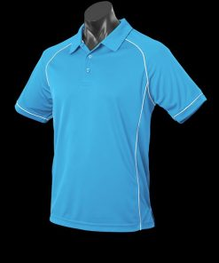 Men's Endeavour Polo - L, Pacific Blue/White