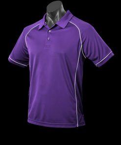 Men's Endeavour Polo - L, Purple/White