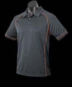 Men's Endeavour Polo - M, Slate/Fluro Orange