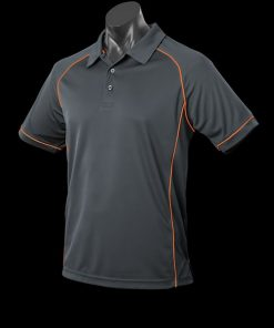 Men's Endeavour Polo - L, Slate/Fluro Orange