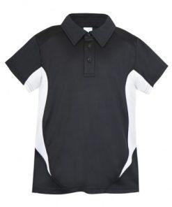 Kids Poly Sports Polo - Black/White