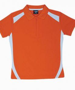 Kids' Cool Sports Polo - 14, Orange/White
