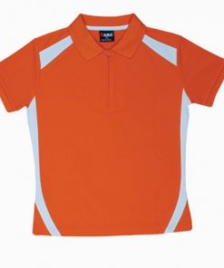 Kids' Cool Sports Polo - 4, Orange/White