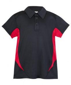 Kids Poly Sports Polo - Black/Red