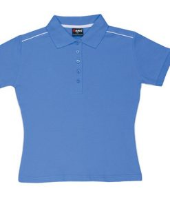 Women's Single Piping Polo - 14, Pacific Blue/White