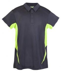 Kids Poly Sports Polo - Charcoal/Lime