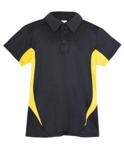 Kids Poly Sports Polo - Black/Gold