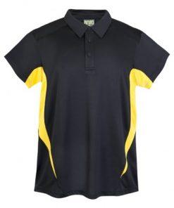 Mens Poly Sports Polo - Black/Gold