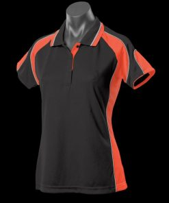 Women's Murray Polo - 14, Black/Orange/Ashe
