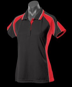 Women's Murray Polo - 12, Black/Red/White