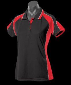 Women's Murray Polo - 16, Black/Red/White