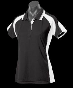 Women's Murray Polo - 14, Black/White/Ashe