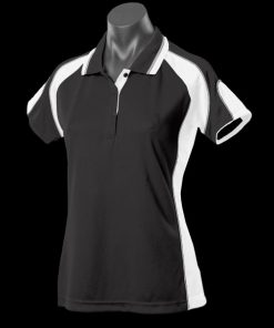 Women's Murray Polo - 16, Black/White/Ashe