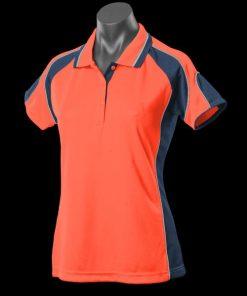 Women's Murray Polo - 14, Hi Viz Orange/Navy/Silver