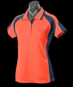 Women's Murray Polo - 16, Hi Viz Orange/Navy/Silver
