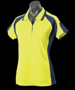 Women's Murray Polo - 14, Hi Viz Yellow/Navy/Silver