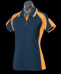 Women's Murray Polo - 12, Navy/Gold/Ashe