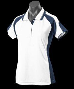 Women's Murray Polo - 14, White/Navy/Ashe