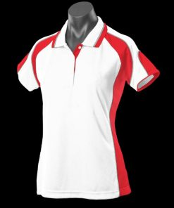 Women's Murray Polo - 24, White/Red/Ashe
