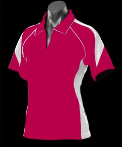 Women's Premier Polo - 8, Hot Pink/White