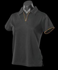 Women's Yarra Polo - 12-14, Black/Gold