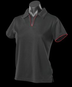 Women's Yarra Polo - 12-14, Black/Red