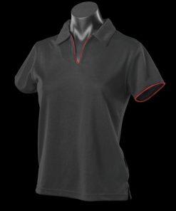 Women's Yarra Polo - 16-18, Black/Red