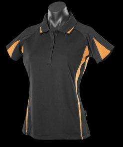 Women's Eureka Polo - 16, Black/Gold/Ashe
