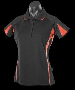 Women's Eureka Polo - 12, Black/Orange/Ashe