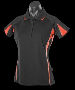 Women's Eureka Polo - 14, Black/Orange/Ashe