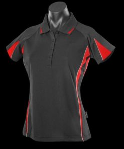 Women's Eureka Polo - 16, Black/Red/Ashe