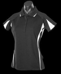 Women's Eureka Polo - 14, Black/White/Ashe