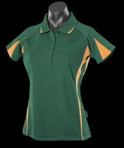 Women's Eureka Polo - 14, Bottle Green/Gold/Ashe