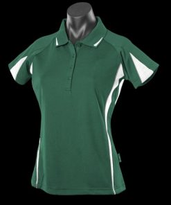 Women's Eureka Polo - 14, Bottle Green/White/Ashe