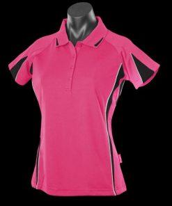 Women's Eureka Polo - 16, Hot Pink/Black/White