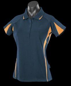 Women's Eureka Polo - 14, Navy/Gold/Ashe