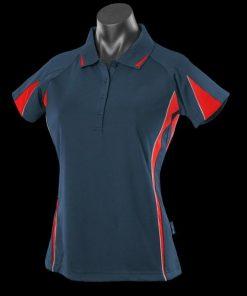 Women's Eureka Polo - 22, Black/Red/Ashe