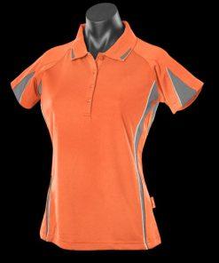 Women's Eureka Polo - 14, Orange/Charcoal/White