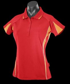 Women's Eureka Polo - 10, Red/Gold/White