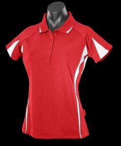 Women's Eureka Polo - 26, Red/White/Ashe