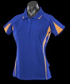 Women's Eureka Polo - 14, Royal/Gold/Ashe