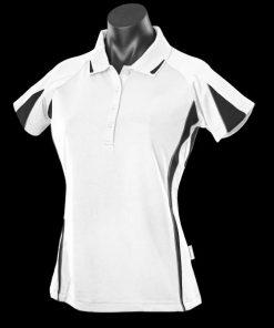 Women's Eureka Polo - 20, White/Black/Ashe