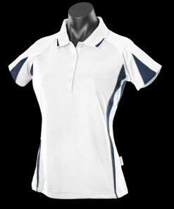 Women's Eureka Polo - 14, White/Navy/Ashe