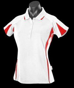 Women's Eureka Polo - 26, White/Red/Ashe