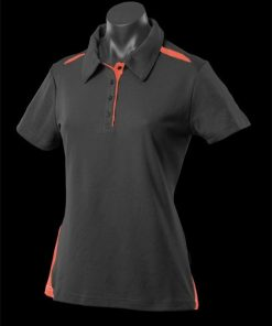 Women's Paterson Polo - 14, Black/Orange