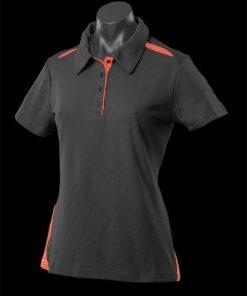 Women's Paterson Polo - 16, Black/Orange